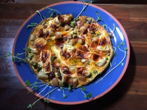 Serving up frittata on a pretty blue plate