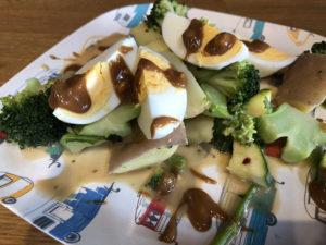 Sauce on steamed vegetables