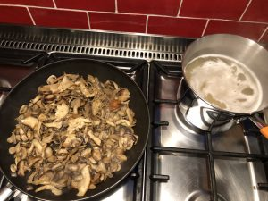 Keep sweating mushrooms until they colour light brown